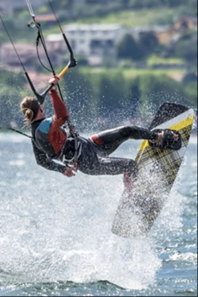 Kite surfing in lake Como
